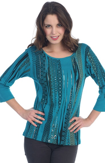 The Silver Foil Accent on this Scoop neck T-shirt with the striking Turquoise and Black color makes this a more dressy and Formal T-shirt. For a contemporary look wear this with one of our Palazzo Black Jersey Pants or for a more Western look wear it with one of our Black Gaucho (riding skirts). Anyway you wear this T-shirt you will stand out in the crowd!. The 3/4 sleeve has a design on it also. Pre-Washed 100% Cotton. Hand or Machine wash Cold. Made in USA