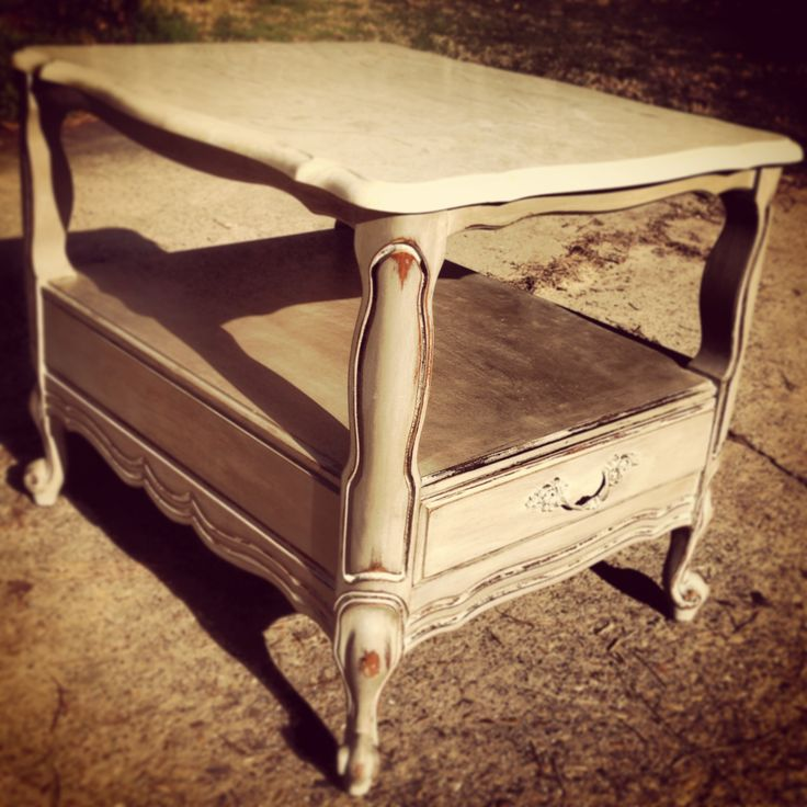 Marble top end table distressed with Annie Sloan chalk paint by STOKER HILL DECOR, Shreveport, LA