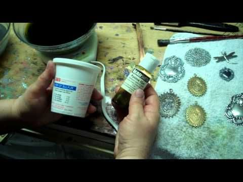 More Patina, Color Tips: Gilder's Paste, Liver of Sulfur over Silverware Silverplate Stampings