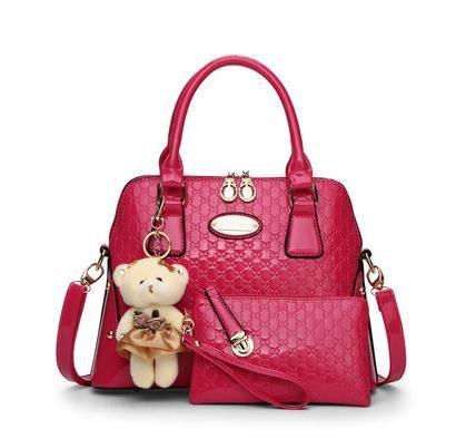 Sunny Casual Embossed Brand Designer Handbags Socialite Women Messenger Bags Fashion Shoulder Bag 2 Set With Bear Toy