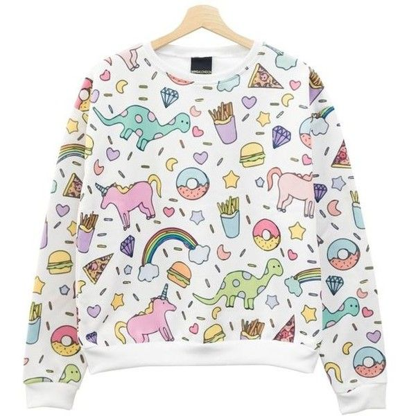 UNICORN SWEATER TOP JUMPER PASTEL GOTH SWAG WOMENS HARAJUKU GIRL... ❤ liked on Polyvore featuring tops, sweaters, pastel sweaters, pastel goth sweater, goth sweaters, white sweater and gothic sweaters