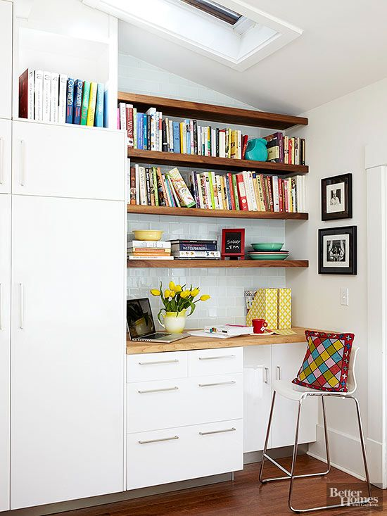 217 best images about small home offices on pinterest for Kitchen office nook