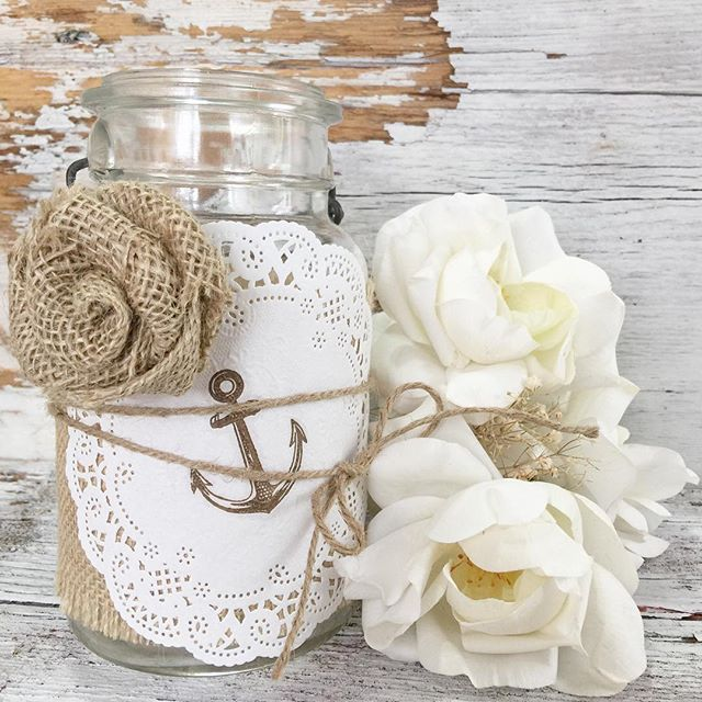 Anchor jar wraps are the perfect centerpiece for any nautical themed party, wedding, or baby shower. - See more at: http://iconosquare.com/viewer.php#/detail/1134817757560987938_2313908735 By Instagramer @denadanielledesigns