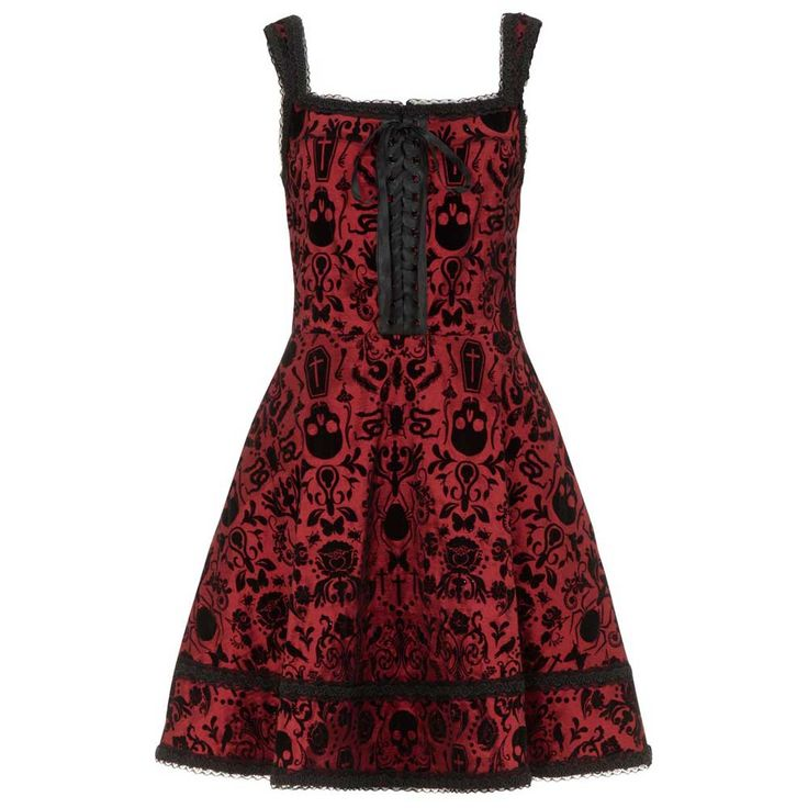 Jawbreaker Coffin taffeta jurk met schedel en doodskist print rood - G