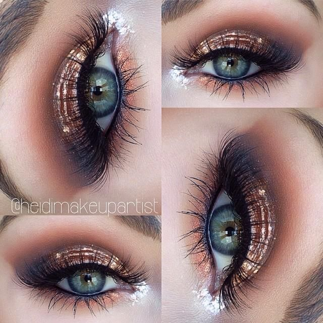 MAC 'soft ochre' paintpot as base, @Lani Lee Stell 'creme brûlée' 'peach smoothie' & 'cocoa bear' in crease, MAC 'copper sparkle' on lid, with @stilacosmetics magnificent metal eyes 'comex copper' on top, @Lani Lee Stell 'corrupt' outer v blended into crease, MAC 'feline' eyeliner in water line, 'copper sparkle' pigment lower lash line via heidimakeupartist