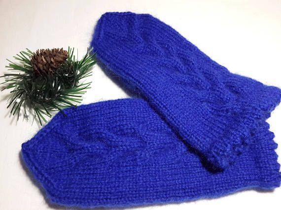 Knit mittens Mittens Woman s mittens Hand wear Blue Winter