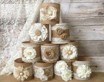 6 burlap jar sleeves ball quart size jar sleeves ivory and