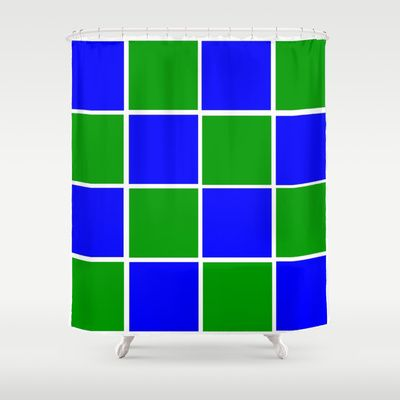 Bold colors of green and blue squares shower curtain #homedecor