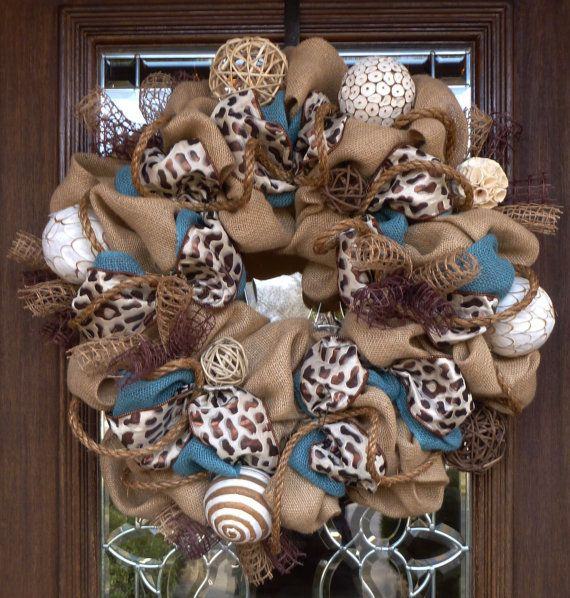 Burlap Wreath with BROWN LEOPARD RIBBON by decoglitz on Etsy
