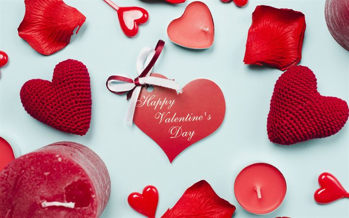 Download wallpapers Happy Valentines Day, romantic holiday, red hearts, red candles, rose petals