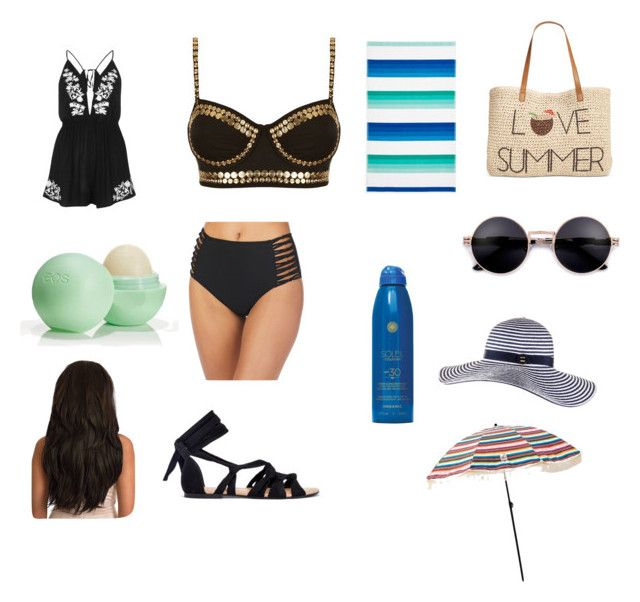 """Day at the beach"" by isabelegolia on Polyvore featuring Ambrielle, Norma Kamali, Eos, Soleil Toujours, Sky, Style & Co., River Island and Black"