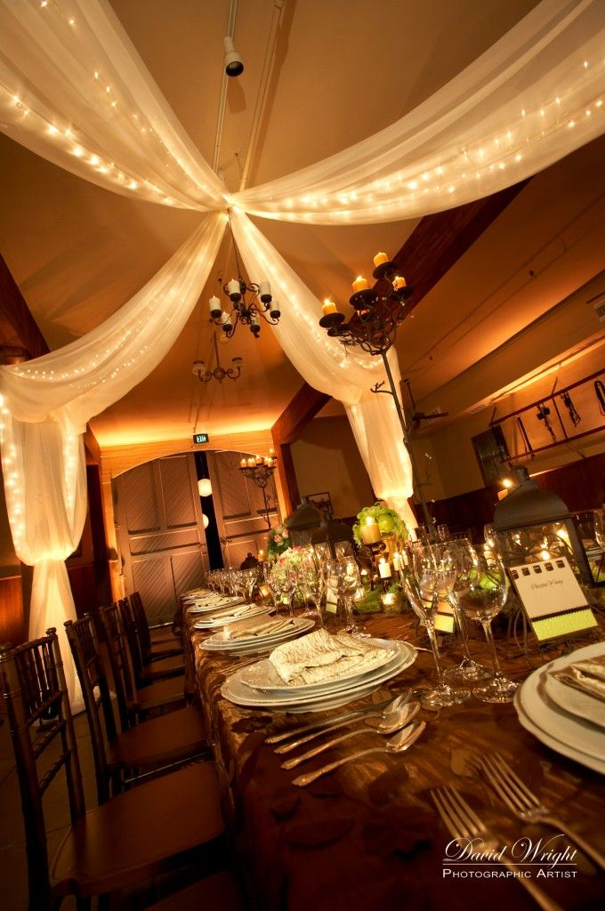 String Lights with Draping Fabric - Fairytale Wedding Ideas and Inspiration for the Prince and Princess