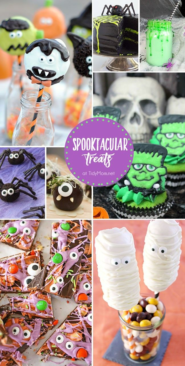 Throw a ghoulishly-good Halloween party with cute, creepy and frightfully fun Spooktacular Treats. From Frankenstein cupcakes to monster bark, these easy Halloween party recipes will be the haunting hit of the party. Details at TidyMom.net