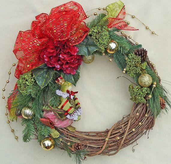 Christmas Frog Wreath Red Hydrangea wreath by DesignsOnHoliday