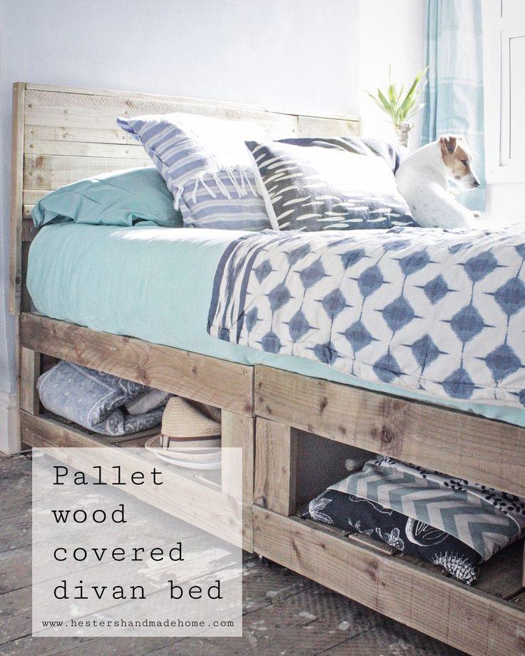 Pallet wood divan bed hack, tutorial by Hester's Handmade Home #HandmadeHomeDécor #HandmadeHomeDecor