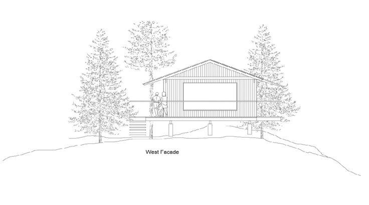Dibujo de fachada de casa de madera
