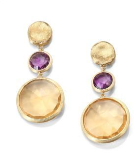 Marco Bicego Jaipur Amethyst, Citrine & 18K Yellow Gold Drop Earrings