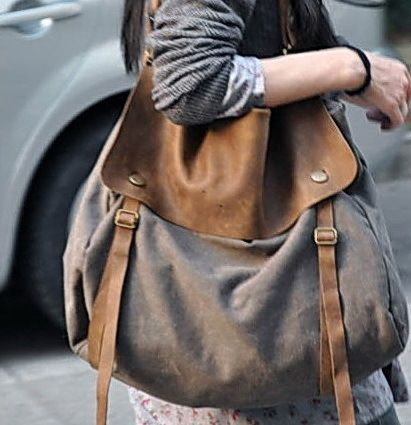 #2 Canvas & Leather Bag Shoulder Bag Messenger from Royalbags by DaWanda.com