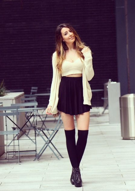 brandy melville fall sweater outfit high socks