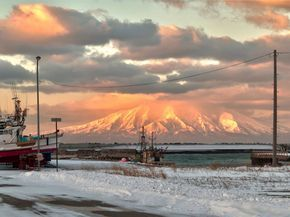 Volcanoes are common throughout Hokkaidō. This is Mount Rishiri, which sits in the Sea of Japan and forms Rishiri Island.