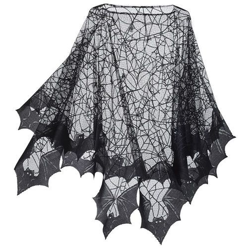 fashion, clothes, clothing, tops, ponchos, black, lace, patterns, spiderwebs, bats, animals, The Pyramid Collection