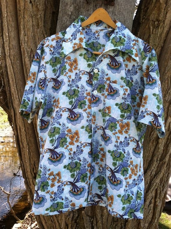 Men's Boho Hawaiian Beach 70s Button up Shirt by ThisaThatVintage, $18.00