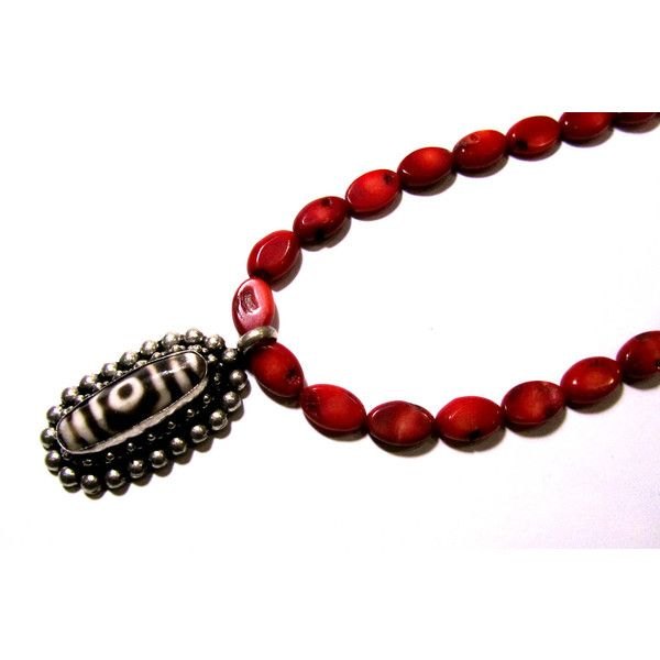 Red Coral Necklace Agate Tzi Bead Nepal Pendant Buddha Eye Meditation Necklace Gift For Her Santorini Black Volcanic Lava Sead Beads Gems (€21) found on Polyvore featuring women's fashion, jewelry, necklaces, long beaded necklace, gemstone pendant necklace, gem necklaces, agate necklace and gem pendant necklace