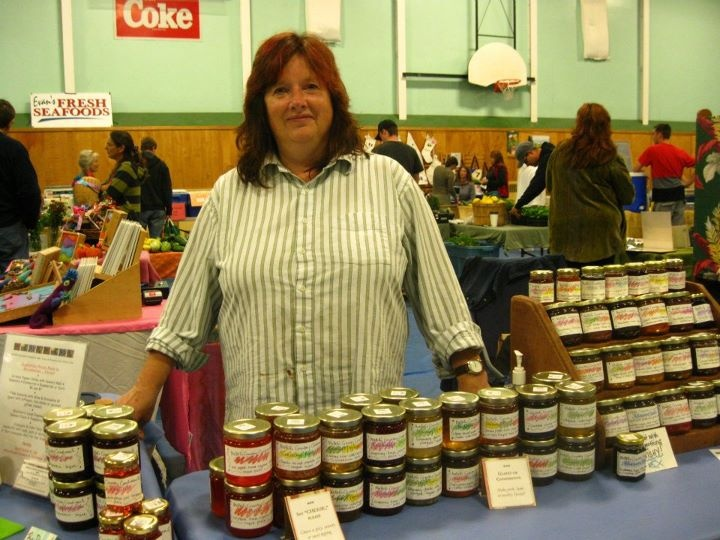 The colourful Ma Bell's Country Condiments table at the Lunenburg Farmers' Market