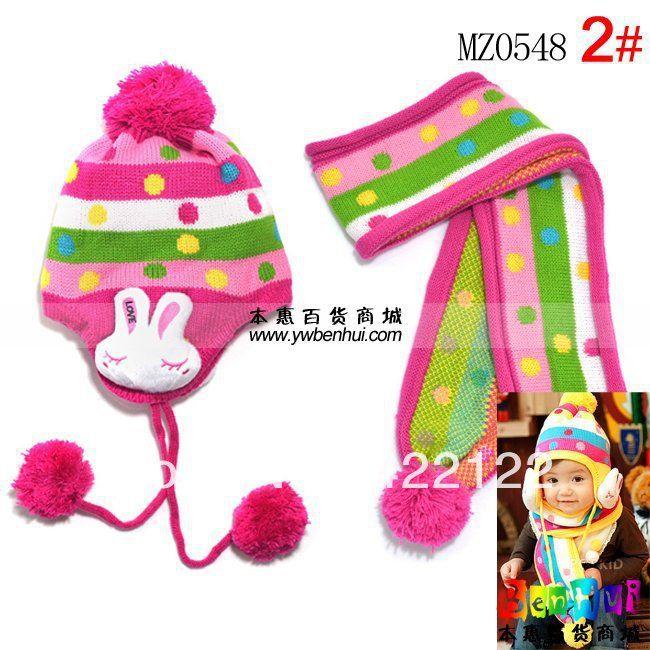 Зима согреться вязаные шапки для мальчик/девочка/комплекты шляпы, младенцев шапки beanine chilldren-любовь кролика шарф, шляпа mz0548-2pcs