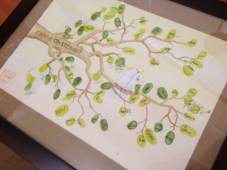 Sulfur crested cockatoos wedding fingerprint tree