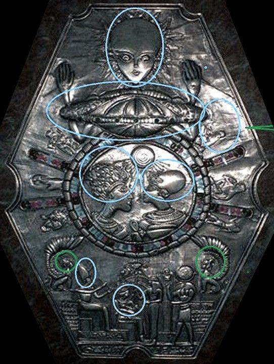 """Medallón encontrado en Egipto, con rostros de alargados cráneos. Son estos """"HUMANOS"""" u otros residentes de la tierra ?? Una posible nave espacial está en la parte superior para representar que gobiernan. Liderazgo sobre el área de Egipto en la antigüedad."""