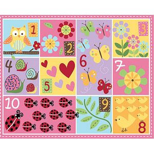 Mainstays Kids Teach Me Numbers Nylon Rug, Multi-Color (this one would be perfect for in front of the bench and it's $20)