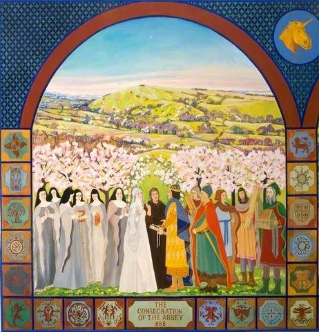 The Millennium Mural Panel I - The Consecration of Shaftesbury Abbey, 888  I painted this in 1979