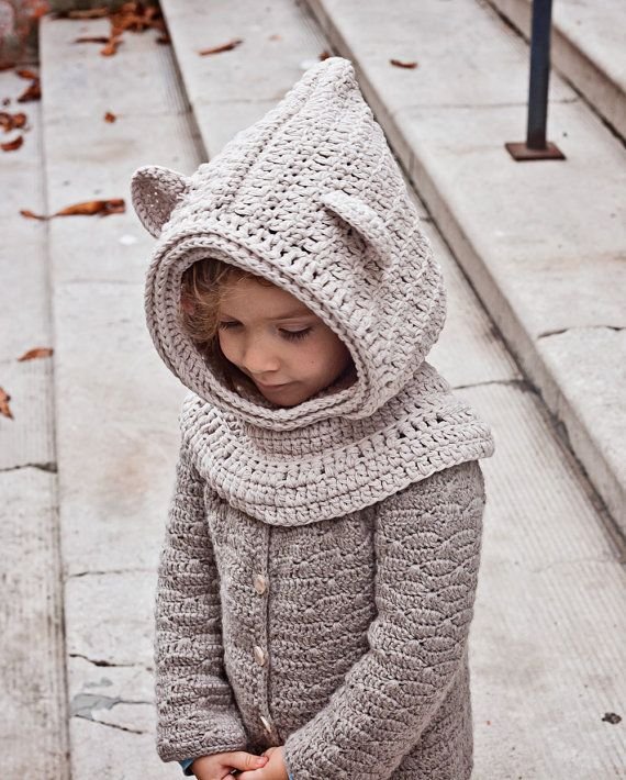 Crochet hat PATTERN Polar Bear Hooded Cowl baby to adult