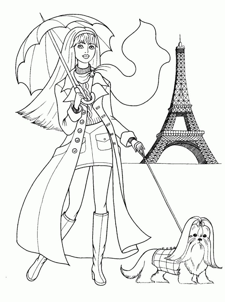 free games for kids » fashionable girls coloring pages 8