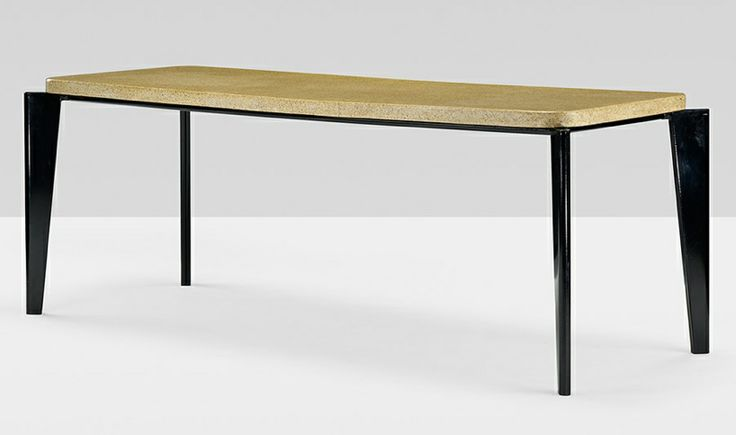 Flavigny dining table, Manufactured by Ateliers Jean Prouvé, This form was originally designed for the Flavigny Sanatorium in 1945 and put into wider production in the 1950s. The table tops of the original models were fragile and in the 1970s the design was modified to accomodate a thicker, more sturdy composite stone table top.