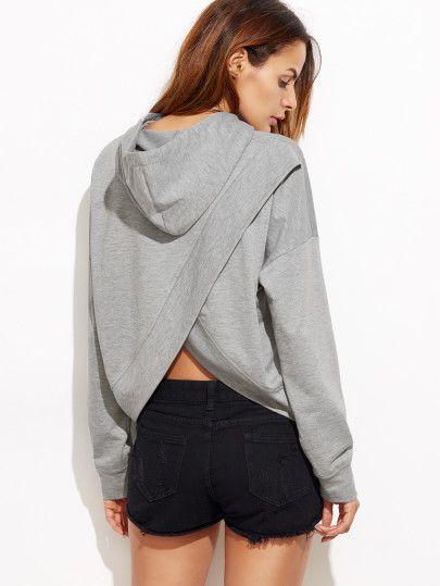 Sudadera con capucha con hombros caídos espalda con abertura - gris-Spanish SheIn(Sheinside) Sitio Móvil