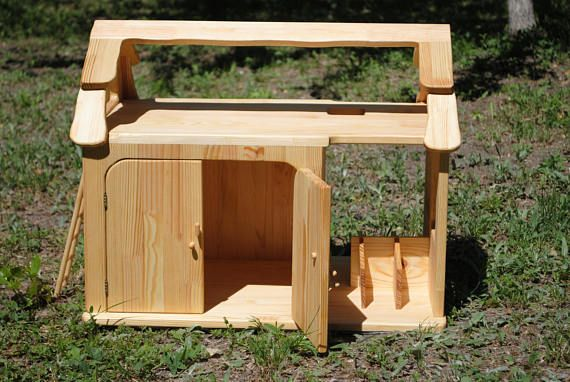 A wooden shed is made of pine and covered with flax seed oil. A wooden farm is perfectly suitable for action and role games of your child. A wooden garage is a unique development gift. By settling domestic animals and birds on the farm, your child will be