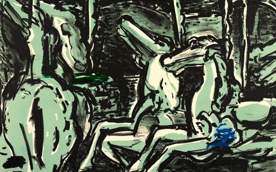 Merry-go-round - Craig Gough Lithograph1997  50 x 32 cm $880.00 Available at www.cascadeprintroom.com.au