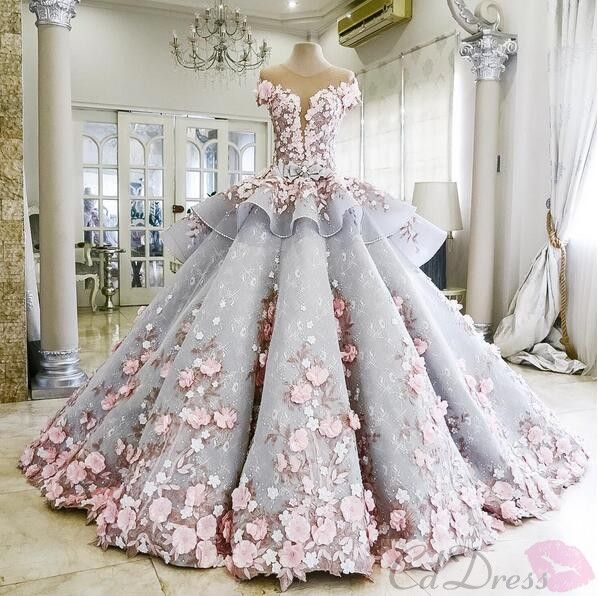 Colored Organza Tulle Lace Flowers Chapel Train Ball Gown Wedding Dress - PROM - CDdress.co