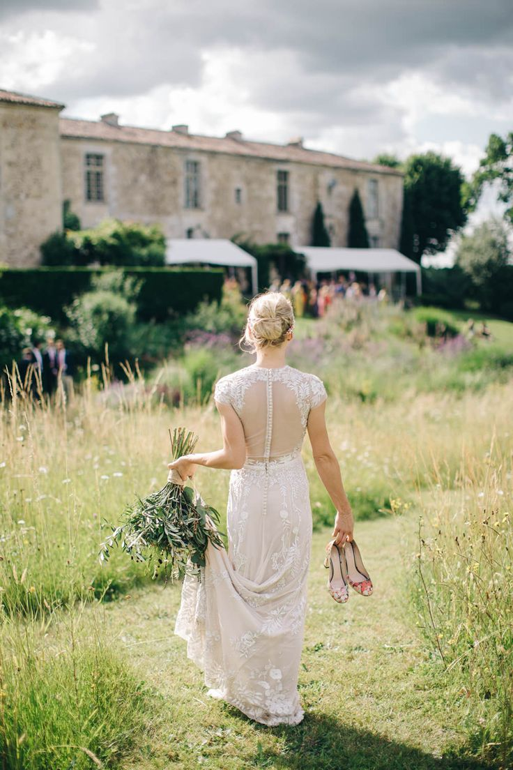 Hermione De Paula Wedding Dress - Hermione De Paula Wedding Dress | Destination Wedding At Chateau Rigaud France | Images by M&J Photography | Bridesmaids in Mustard Yellow Whistles Dresses