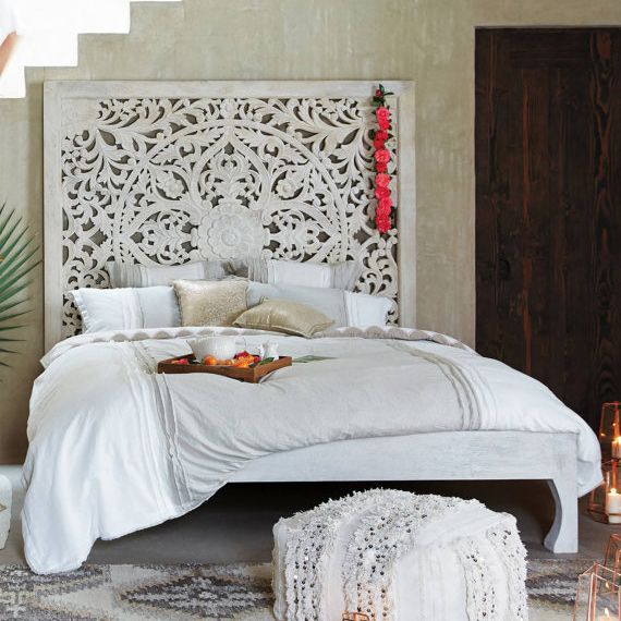 Balinese Hand Carved King Size Bed Headboard Reclaimed Wooden Panels Artwork Handmade Painted In Chiang Mai Thailand 72x72 Inches In 2020 Headboards For Beds Home Bedroom Decor