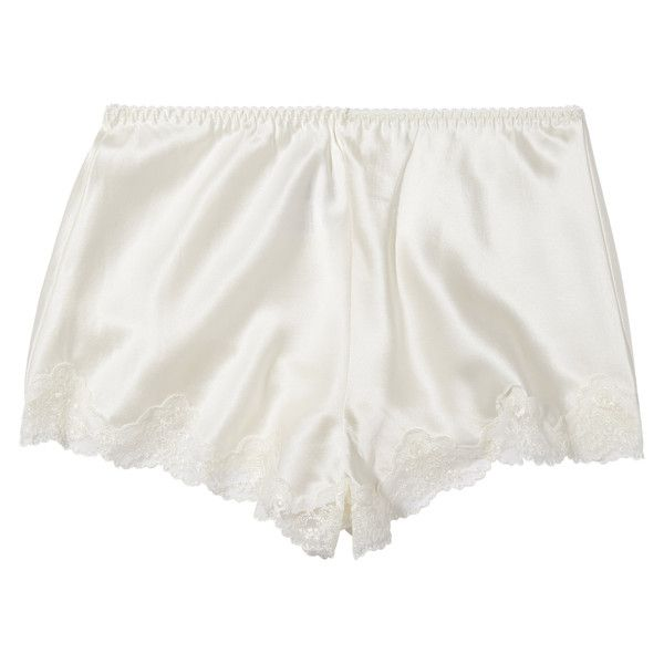 Ginia Pure Silk Knicker with Lace in white