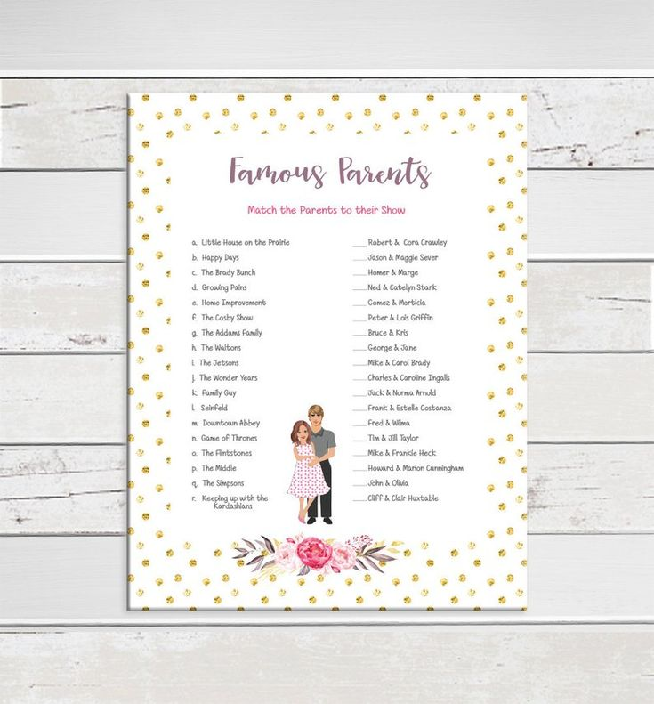 Famous Parents Baby Shower Game Gold Glitter Celebrity Baby | Etsy