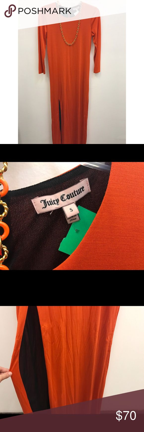 Juicy Couture Orange Maxi Dress Juicy Couture orange jersey maxi dress with 3/4 sleeves, Size S Juicy Couture Dresses Maxi