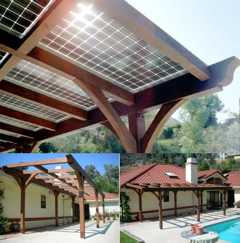 Solar panels on pergola - what a good idea! Seems like it would blend in much better than a few random solar panels on a roof