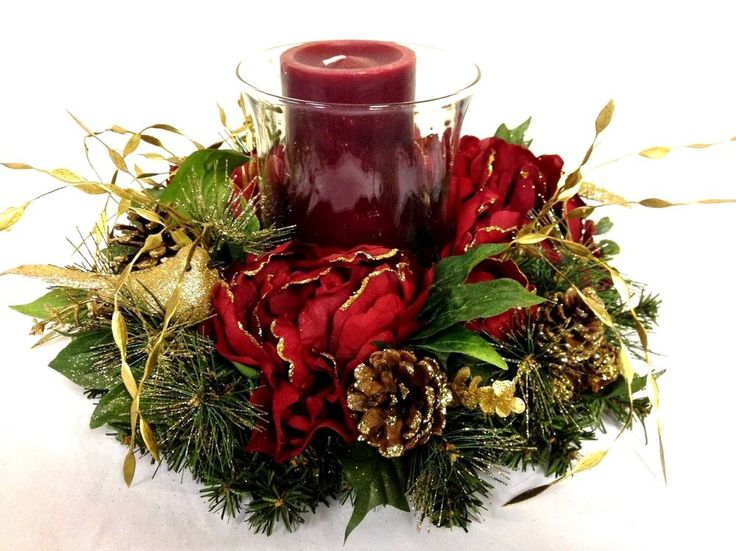 New christmas candle silk floral centerpiece burgundy gold