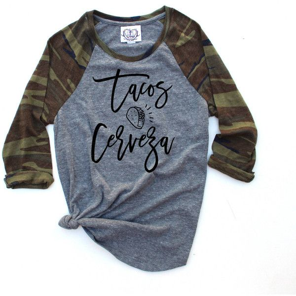 Taco Shirt Tacos and Cerveza Tacos and Tequila Shirt Taco Camo... (£36) ❤ liked on Polyvore featuring tops, t-shirts, black, women's clothing, baseball tee shirts, camo t shirt, baseball shirts, camouflage shirts and 3 4 sleeve baseball tee