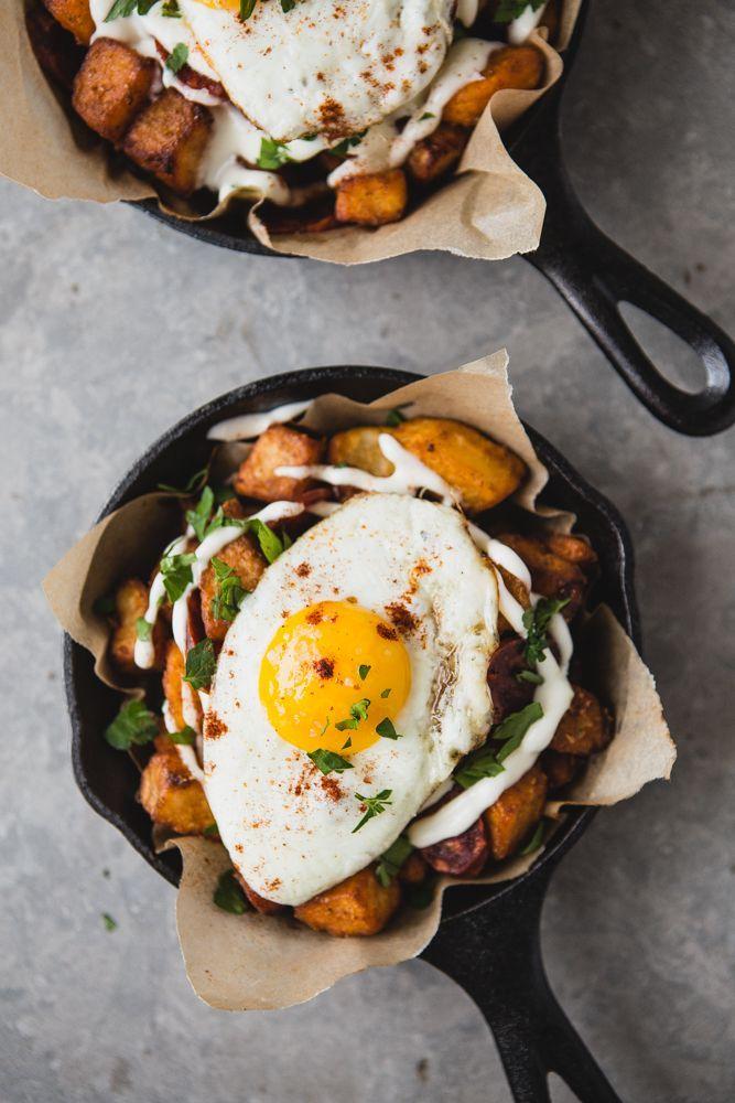 Potatoes Bravas With Chorizo, Fried Eggs and Garlic Aioli