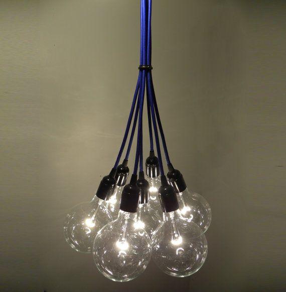 Custom Color 7 Cluster Chandelier Pendant Lighting modern blue pink chandelier Custom Rainbow Cloth Cords Industrial pendant lamp globe bulb on Etsy, $209.00